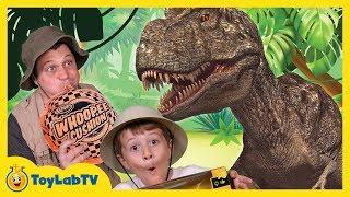 Giant Life Size T-Rex Dinosaur Runs After Park Ranger Aaron in Truck, Fun Kids Toy Dinosaurs Video