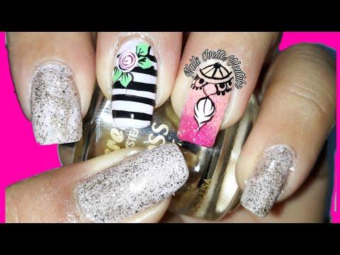 Decoracion de uñas - Decoración de uñas con atrapasueños/diseño de uñas rosa y rayas negras/diseño de uñas en dorado