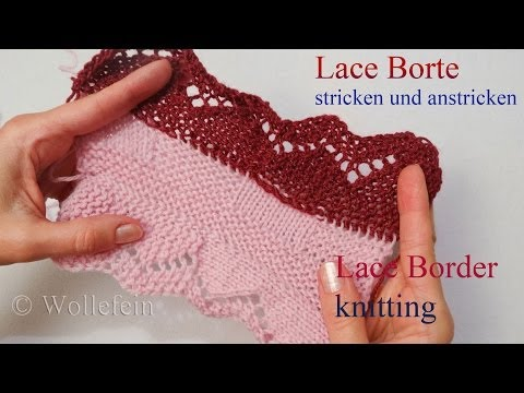 Lace Bordüre stricken und anstricken – Knitting on Lace Border 4