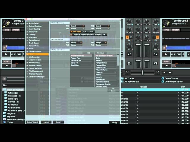 Configuración y enrutamiento de efectos en TRAKTOR