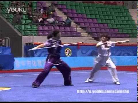 The level of precision in this wushu choreography is insane.