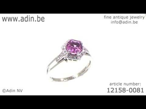Platinum estate engagement ring with pink topaze and diamonds. (Adin reference: 12158-0081)
