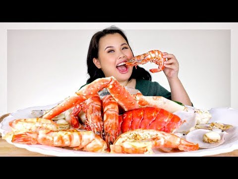 SEAFOOD BOIL: GIANT SHRIMP RECIPE + KING CRAB + GIANT LOBSTER + SCALLOP MUKBANG 먹방 EATING SHOW!