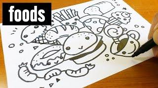 How to draw cute & kawaii doodle ! Foods doodle