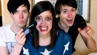 Phil and Dan Do My Make Up: AmazingCatisNotOnFire Part 2