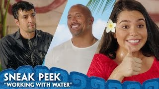 """Dwayne Johnson, Auliʻi Cravalho, and Lin-Manuel Miranda talk about working with their most challenging Moana costar: WaterDisney's Moana is NOW PLAYING in 3D! Get tickets: http://disney.com/moanaticketsFor centuries, the greatest sailors in the world masterfully navigated the vast Pacific, discovering the many islands of Oceania. But then, 3,000 years ago, their voyages stopped for a millennium – and no one knows exactly why. From Walt Disney Animation Studios comes """"Moana,"""" a sweeping, CG-animated feature film about an adventurous teenager who is inspired to leave the safety and security of her island on a daring journey to save her people. Inexplicably drawn to the ocean, Moana (voice of Auliʻi Cravalho) convinces the mighty demigod Maui (voice of Dwayne Johnson) to join her mission, and he reluctantly helps her become a wayfinder like her ancestors who sailed before her. Together, they voyage across the open ocean on an action-packed adventure, encountering enormous monsters and impossible odds, and along the way, Moana fulfills her quest and discovers the one thing she's always sought: her own identity. Directed by the renowned filmmaking team of Ron Clements and John Musker (""""The Little Mermaid,"""" """"Aladdin,"""" """"The Princess & the Frog""""), produced by Osnat Shurer (""""Lifted,"""" """"One Man Band""""), and featuring music by Lin-Manuel Miranda, Mark Mancina and Opetaia Foa'i, """"Moana"""" sails into U.S. theaters on Nov. 23, 2016. Website: http://disney.com/moanaLike us on Facebook: https://www.facebook.com/disneymoanaFollow us on Twitter: https://twitter.com/disneymoanaFollow us on Instagram: https://instagram.com/DisneyAnimation"""