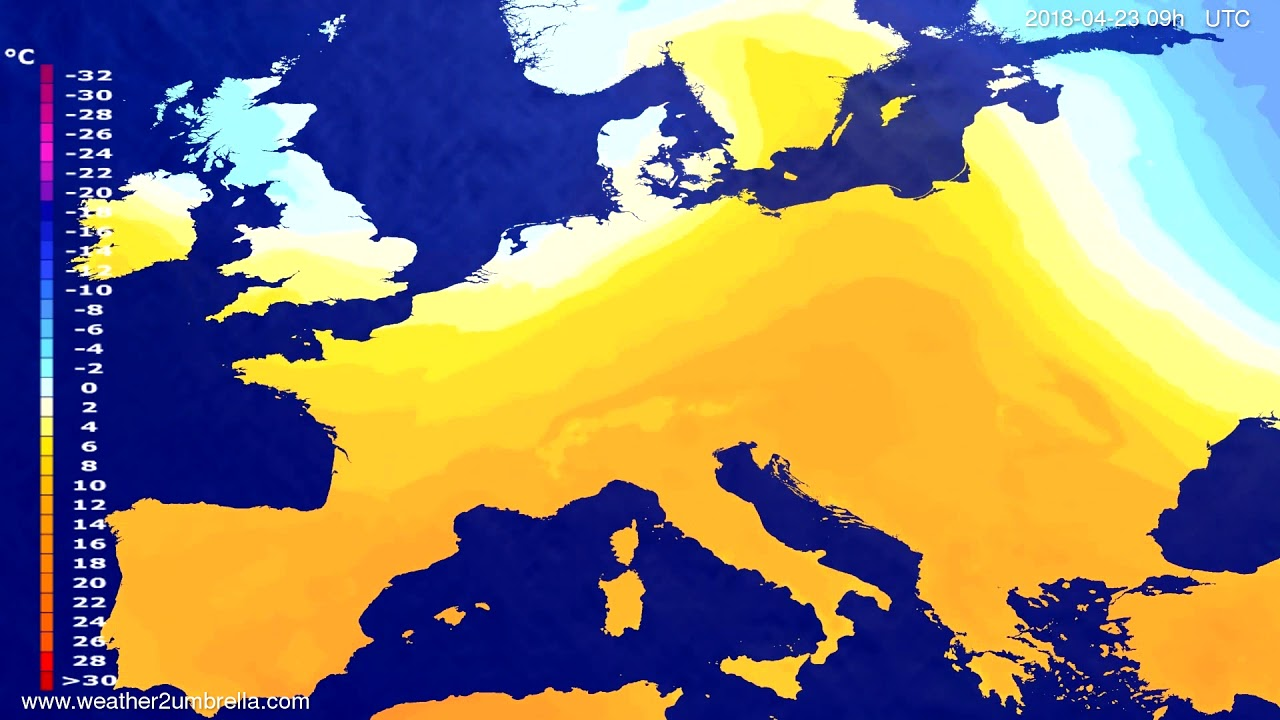 Temperature forecast Europe 2018-04-21