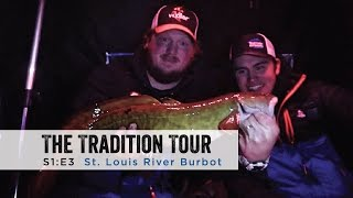 """In this episode of The Tradition Tour Staffers Adam Bartusek, Will Stolski, and Sam Sobieck venture to Northwestern Wisconsin to fish a tributary of Lake Superior, the St. Louis River. With special guest hosts (stars of the show) Jarrid Houston and Kyler Kennedy, the boys lay the smack down on some GREASY burbot.Filmed and Edited by: Sam SobieckHouston's Guide Service:https://www.facebook.com/Houstons-Guide-Service-114381745302575/?fref=tsJigs:Clam Pro Tackle Rattlin' Blade Spoonhttp://stores.clamoutdoors.com/clam/tackle/spoons/rattlin-blade-spoon.htmlNorthland Tackle BuckshotVenom Floats Inferno SpoonRods:Baitrunner MH Carbon 30"""" (Walleye Stinger)http://www.dhcustomrods.com/dh-ice-rodsClam Ice Team Professional Series 26"""" Medium Action Walleyehttp://stores.clamoutdoors.com/clam/rods-reels/ice-team-professional-series.htmlReels:Shimano Sienna 500FD Spinninghttp://www.gandermountain.com/modperl/product/details.cgi?pdesc=Shimano-Sienna-500FD-Spinning-Reel-SN500FDC&i=831333Shimano Sahara 500FEHouse:Clam Yukon X Thermalhttp://www.gandermountain.com/modperl/product/details.cgi?pdesc=Clam-Yukon-X-Thermal-Fish-Trap-Ice-Shelter&i=906464Suit:Ice Armor by Clam Lift Suit Bibshttp://www.gandermountain.com/modperl/product/details.cgi?pdesc=Clam-Mens-Ice-Armor-Lift-Bib&i=1020701Ice Armor by Clam Lift Suit Parkahttp://www.gandermountain.com/modperl/product/details.cgi?pdesc=Clam-Mens-Ice-Armor-Lift-Parka&i=1020700Flasher:Vexilar FLX-28http://www.gandermountain.com/modperl/product/details.cgi?pdesc=Vexilar-FLX-28-Pro-Pack-II-Flasher-with-ProView-Ice-Ducer&i=756522Auger:8"""" K-Drill w/ Milwaukee M18 Fuelhttp://icefishingtoday.com/ice-fishing-products/k-drill-electric-ice-auger-system/"""