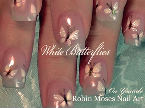 white butterfly nail art, so easy!