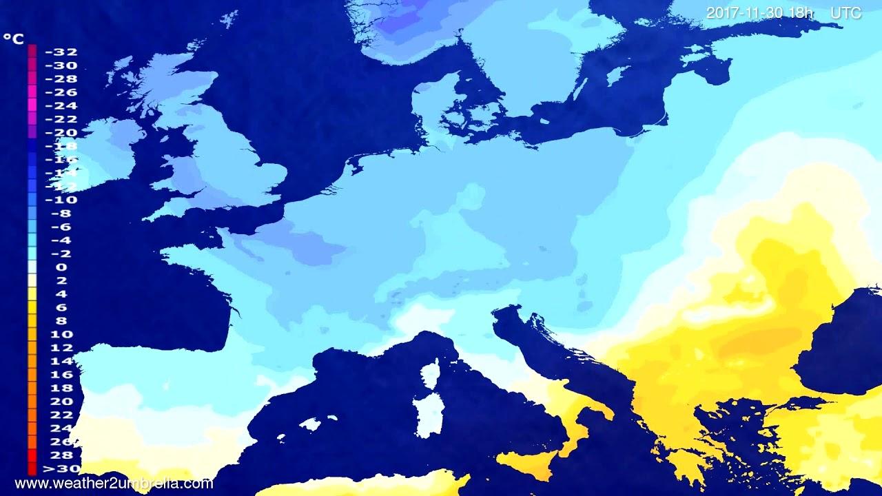 Temperature forecast Europe 2017-11-27