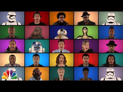 Jimmy Fallon The Roots  Star Wars The Force Awakens Cast Sing Star Wars Medley A