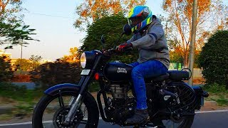 1. Royal Enfield Classic 500 Stealth Black ABS First Ride Review Braking Test #Bikes@Dinos