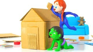 SUPERHERO BABIES BUILDING A HOUSE ❤ Spiderman, Hulk & Frozen Elsa Play Doh Cartoons For Kids