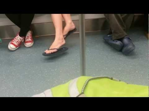 double crossed legs - Swinging Double Crossed Legs in train.