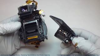 Repair your Canon 60D. This is part of a multi-video series showing you how to work on and repair a Canon EOS 60D camera. This video shows you how to remove the CCD, the mirror box, and the shutter assembly.You can download, or print, the screw layout diagram that is shown in this video at: http://www.thebobfactor.com/Canon%2060D%20Diagrams/Canon%2060D%20Screw%20Layout%20Diagram%203.PDF