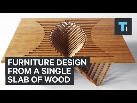 Furniture design from a single slab of wood