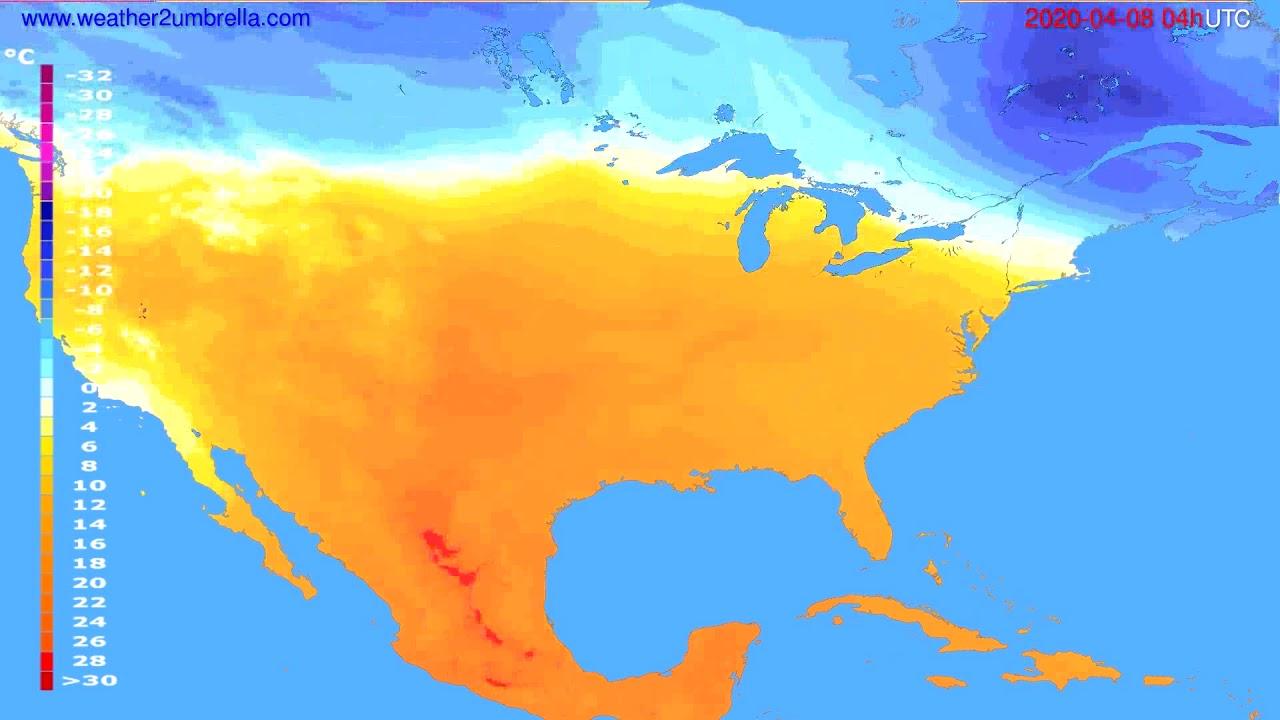 Temperature forecast USA & Canada // modelrun: 12h UTC 2020-04-07