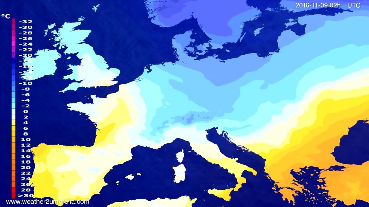 Temperature forecast Europe 2016-11-05