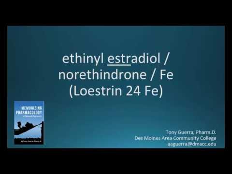 How to pronounce ethinyl estradiol norethindrone iron (Memorizing Pharmacology Flashcard)