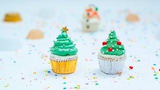 Cómo hacer cupcakes de árbol de Navidad