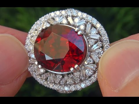 GIA Certified FLAWLESS Natural Spessartite Garnet Diamond 18k White Gold Ring - C508