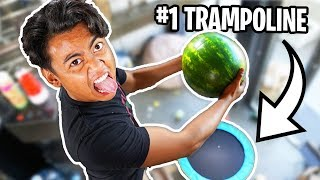 Watermelon Vs Trampoline From 450cm! ~ Bounce