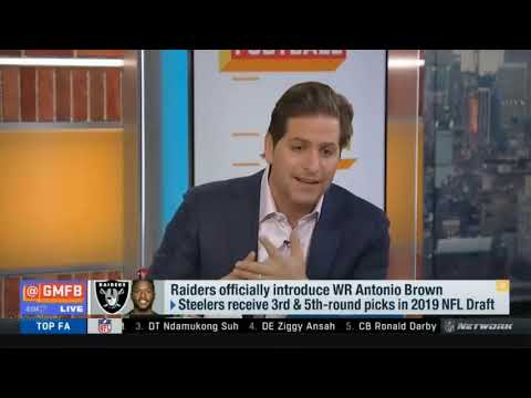 Discuss about Raiders officially introduce WR Antonio Brown   Good Morning Football