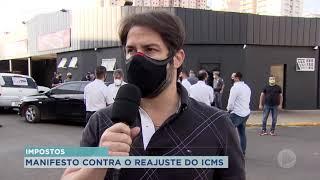 Lojistas fazem carreta em protesto contra o aumento do ICMS