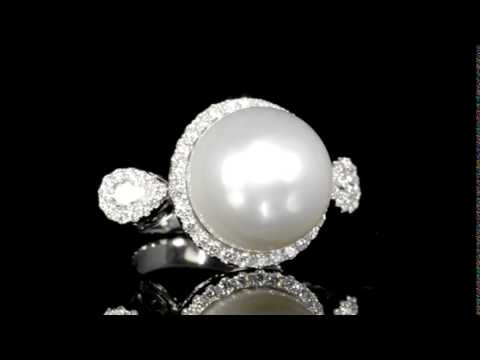 Lady's 18k White Gold South Sea White Pearl (Apx. 16.8 mm) and Diamond Ring
