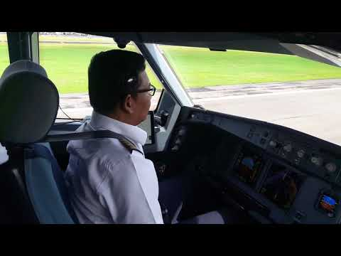 A330 Landing at Sultan Hasanudin international airport of Indonesia