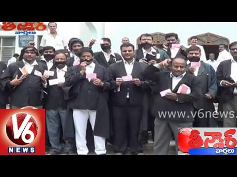 Telangana lawyers made a variety silent strike for separate High Court  Teenmaar News