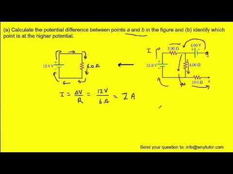 Calculate the potential difference between points a and b in the figure