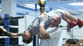 This is why he's the People's Champ! Tyson Fury spars young fan and makes his day
