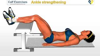 Calf exercises: ankle strengthening exercise on Bench (calf, muscle, leg)