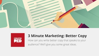 Writing better copy and words for your marketing material is tough. In this short marketing advice video, we'll give you some great tips on how to write better copy for your website, emails and marketing brochures.