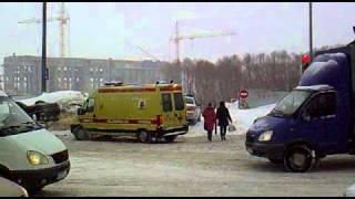 ДТП в Казани, бетономешалка и легковая