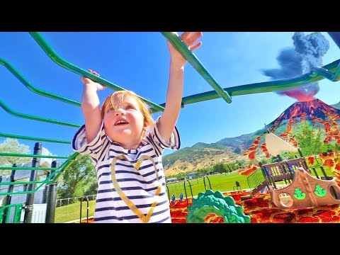 ADLEYS FAVORITE PARK!! Pirate Ship and Sea Monster and the Floor is Lava pretend play!