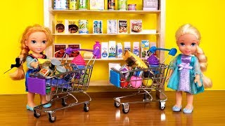 Video GROCERY store ! Elsa and Anna toddlers go shopping - Barbie is store manager MP3, 3GP, MP4, WEBM, AVI, FLV Juni 2019