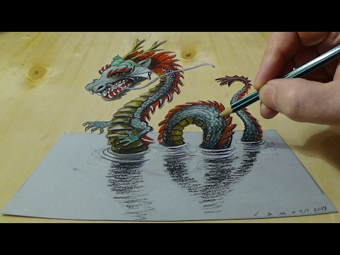 Video 3D Drawing of a Chinese Dragon - How to Draw 3D Water Dragon - Trick Art on Paper download in MP3, 3GP, MP4, WEBM, AVI, FLV January 2017