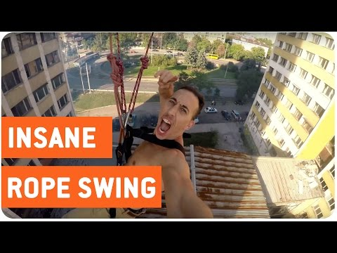 NOPE NOPE NOPE! Homemade 18-story rope swing!