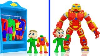 BABY MEETS SUPERHERO IRON HULKBUSTER 💖 Cartoons Play Doh Stop Motion