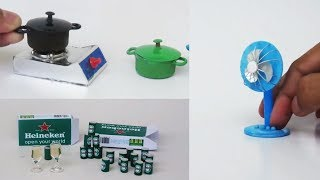3 Funny DIY Miniature For Dollhouse ~ Fan ~ Stove and Cooking Pots ~ Soda |  Small Crafts