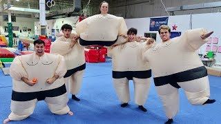 Video FUNNY GYMNASTICS IN GIANT SUMO SUITS! MP3, 3GP, MP4, WEBM, AVI, FLV Juni 2018