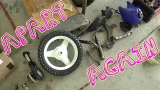 After coming to terms with the issues in part 4 we jump in and start dismantling the PW 50. My main goal was to remove the engine and have a look at the top end and crank, but to do that many of the chassis components need to be taken off.
