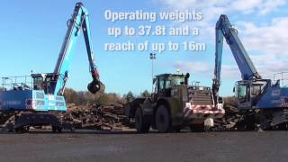 Terex Fuchs MHL350 material handlers working on railway track and wood