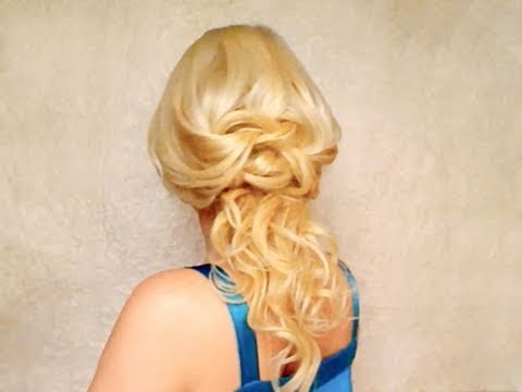 Knotted half updo hairstyles with curls for long hair Romantic prom wedding Valentines down do
