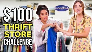 Thrift Store CHALLENGE with $100 Budget!! by Clevver Style