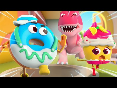 Dino Is Coming! | Donut, Burger, Cupcake | Yummy Foods Animation | Kids Cartoon | BabyBus