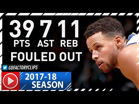 Stephen Curry Full Highlights vs Nets (2017.11.19) - 39 Pts, 11 Reb, 7 Ast, FOULED OUT!