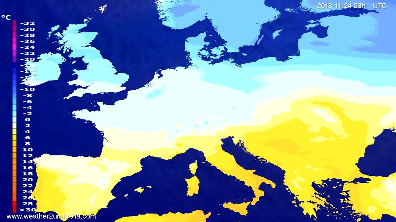 Temperature forecast Europe 2018-11-21